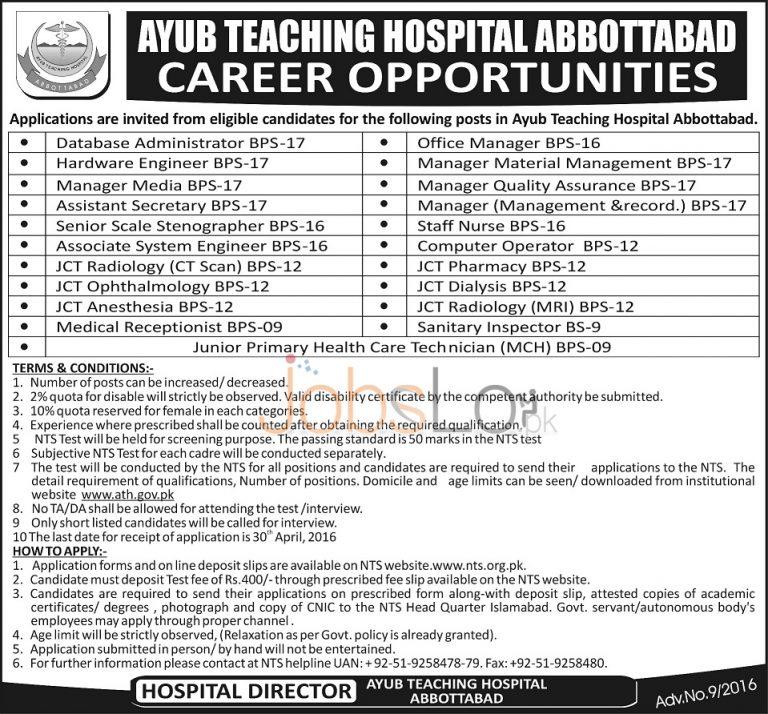 Ayub Teaching Hospital Abbottabad Jobs April 2016 for Staff Nurse NTS Form Download