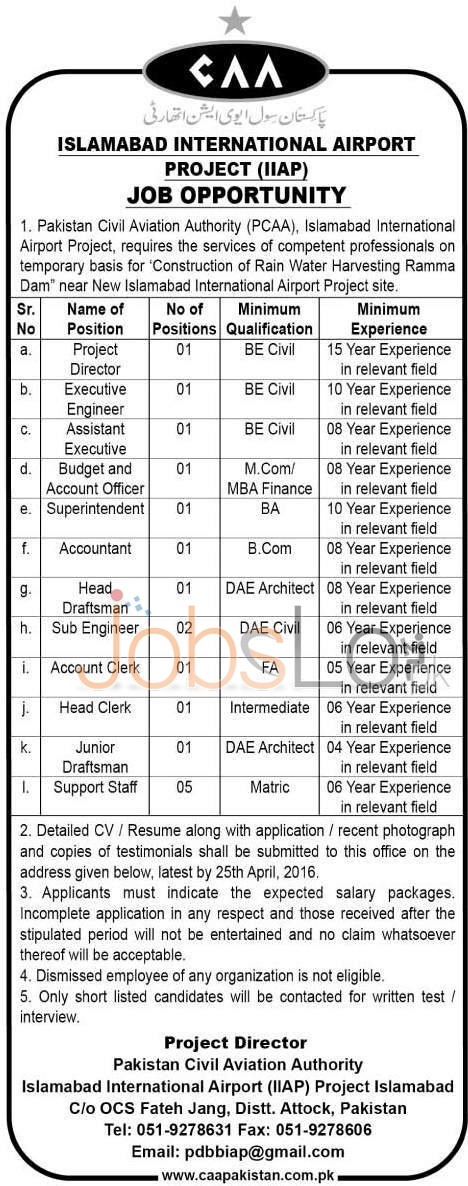 CAA Islamabad International Airport Project Jobs April 2016 Career Opportunities