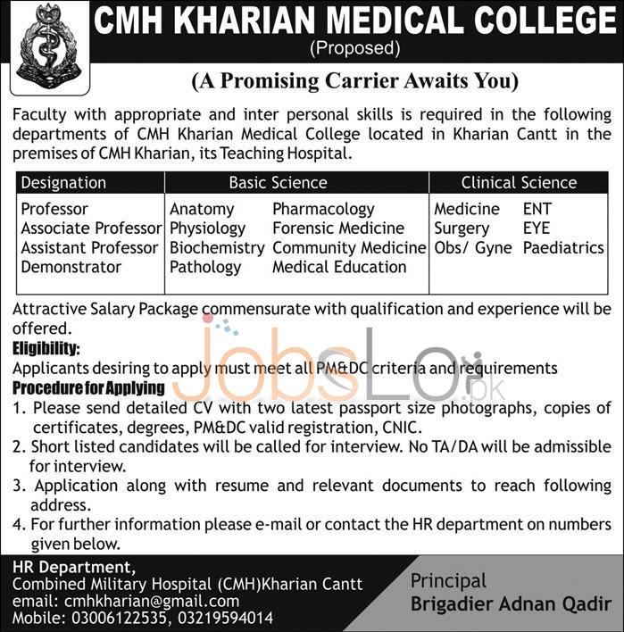 CMH Kharian Medical College Jobs April 2016 Employment Offers
