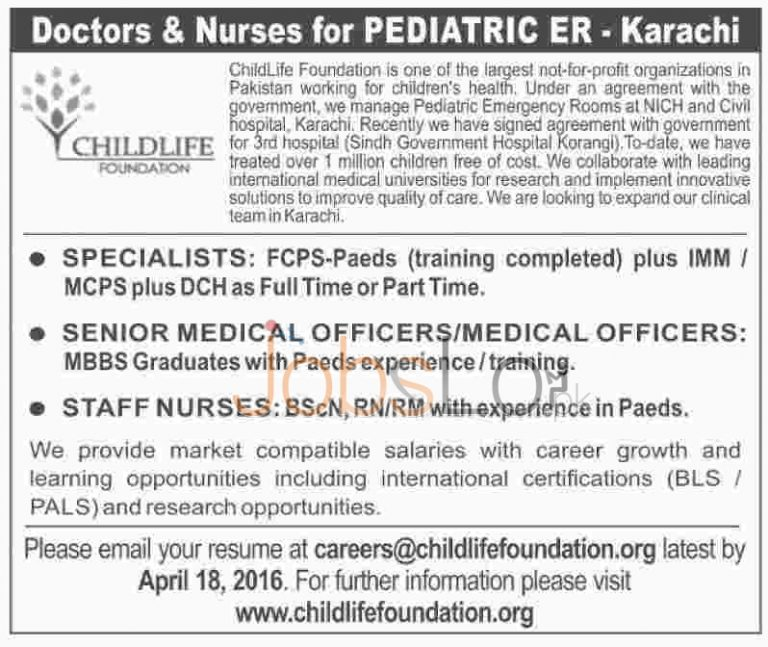Childlife Foundation Karachi Jobs April 2016 For Specialists Medical Officers Eligibility Criteria
