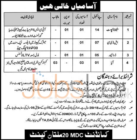 Pakistan Army Commandant MDC 20 Multan Jobs April 2016 For Stenotypist