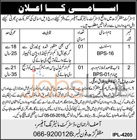 District Monitoring Officer Muzaffargarh Jobs April 2016 For Assistant & Naib Qasid