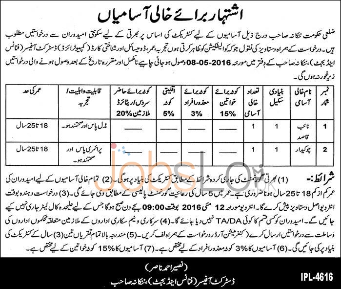 District Office Finance& Budget Department Jobs