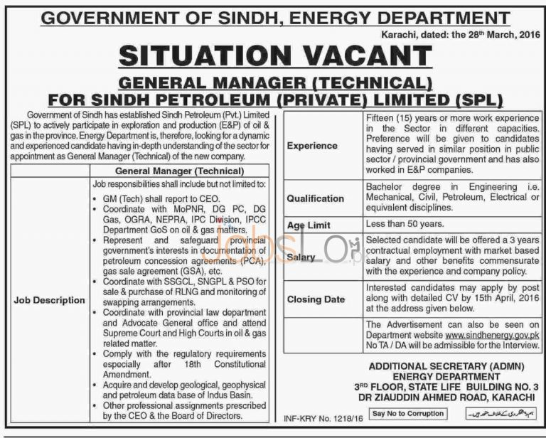 Energy Department Sindh General Manager Jobs 1 April 2016 Latest Add