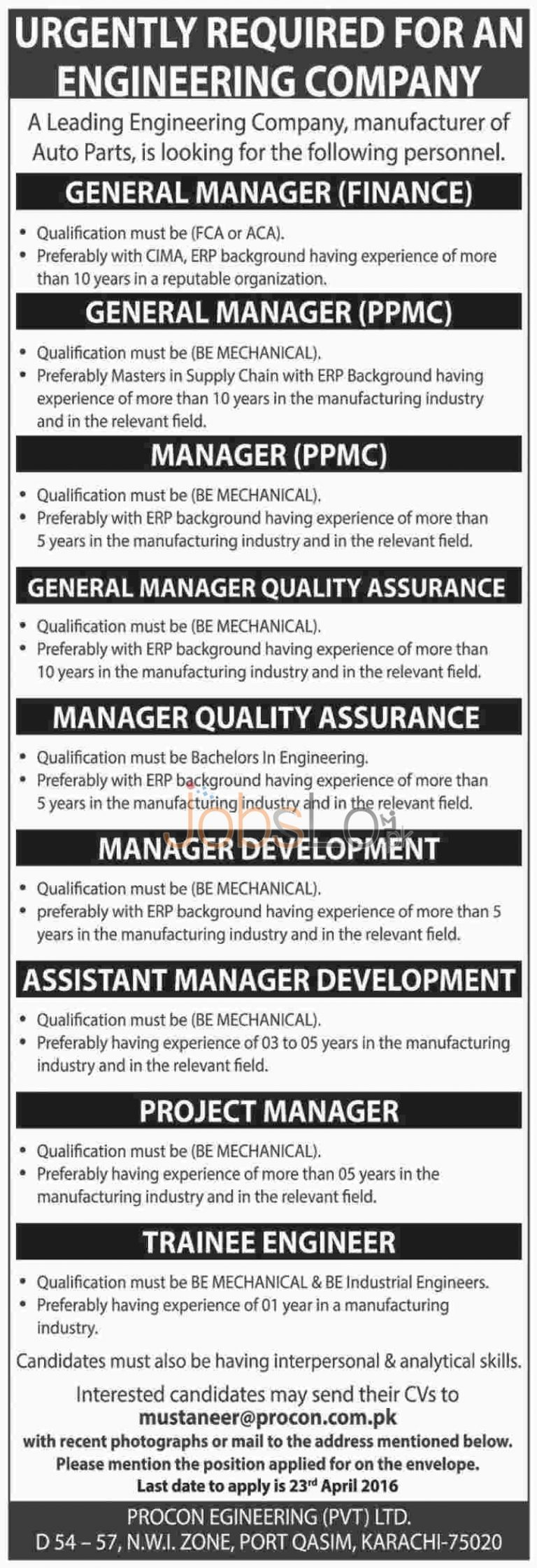Procon Engineering Company Karachi Jobs April 2016 For Managers & Trainee Engineers Latest