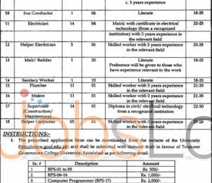 Govt College University Faisalabad Jobs 2016 For Non-Teaching Staff Online Application Form