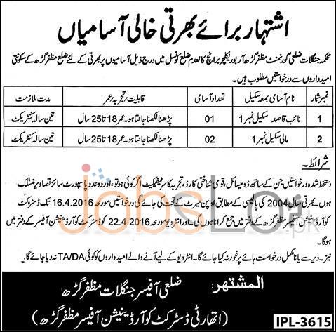 Forest Department Muzaffargarh Jobs 2016 For Naib Qasid Eligibility Criteria