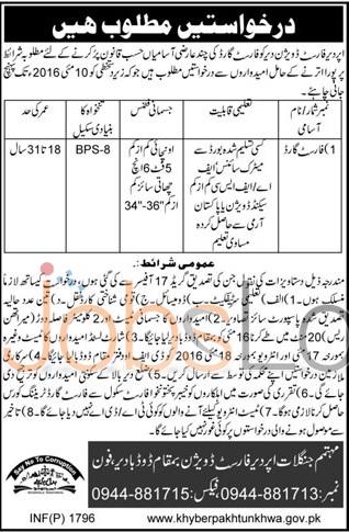 Forest Division Upper Dir Jobs April 2016 For Forest Guard Under Matric