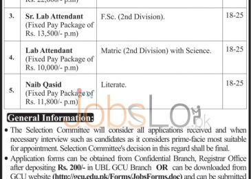 GC University Lahore Jobs April 2016 For Non-Teaching Staff Career Opportunities