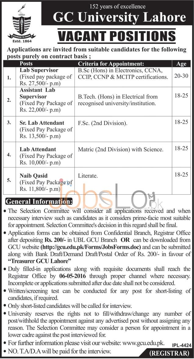 GC University Jobs
