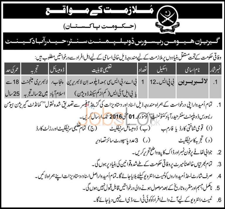Pakistan Army Garrison Human Resource Development Centre Hyderabad Jobs 2016 Latest