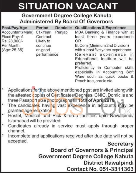 Govt Degree College Kahuta Jobs 1 April 2016 For Accountant Eligibility Criteria