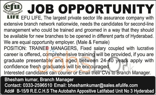 EFU Life Insurance Hyderabad Jobs April 2016 For Trainee Managers Males & Females