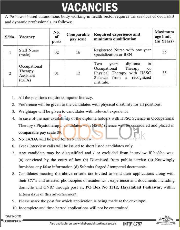 Health Sector Peshawar Josb April 2016 For Staff Nurse (Male) Latest Add