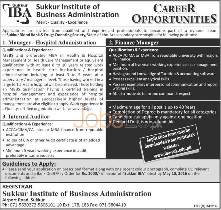 IBA Sukkur Jobs April 2016 For Manager Finance Application Form Download Online