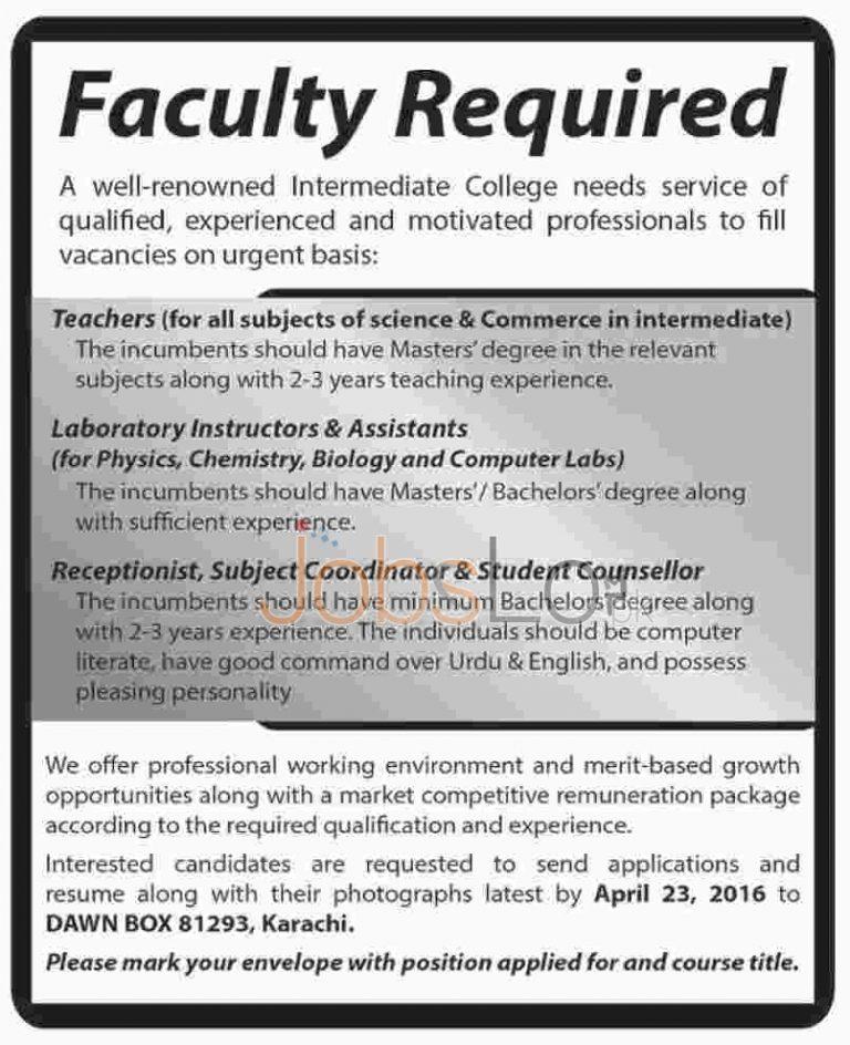 Intermediate College Karachi Jobs April 2016 Teaching & Non-Teaching Faculty Required