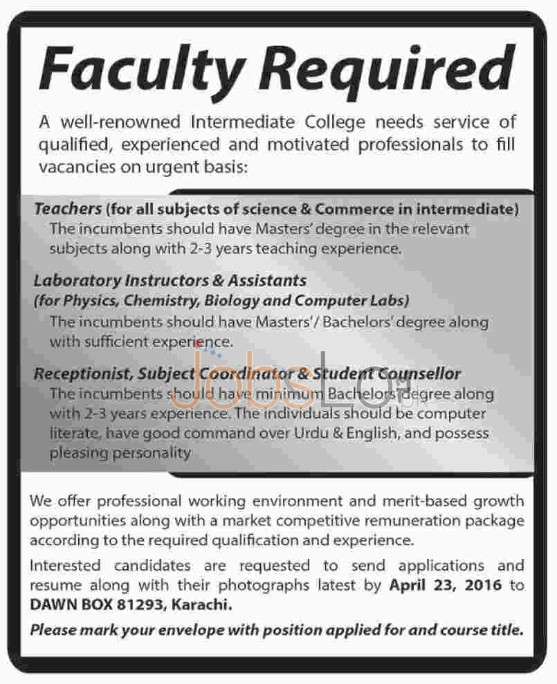 Intermediate College Jobs