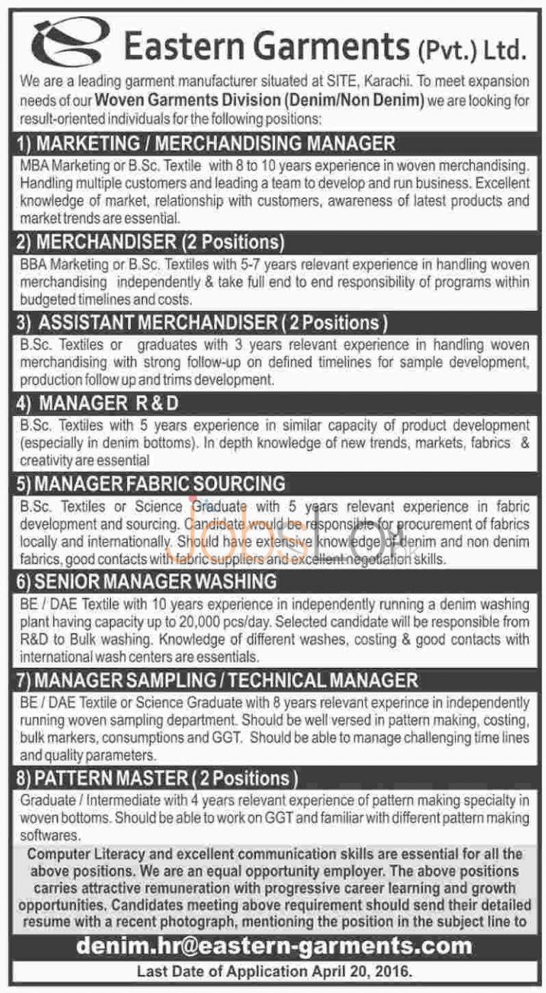 Eastern Garments Company Karachi Jobs April 2016 For Merchandiser Apply Online Latest