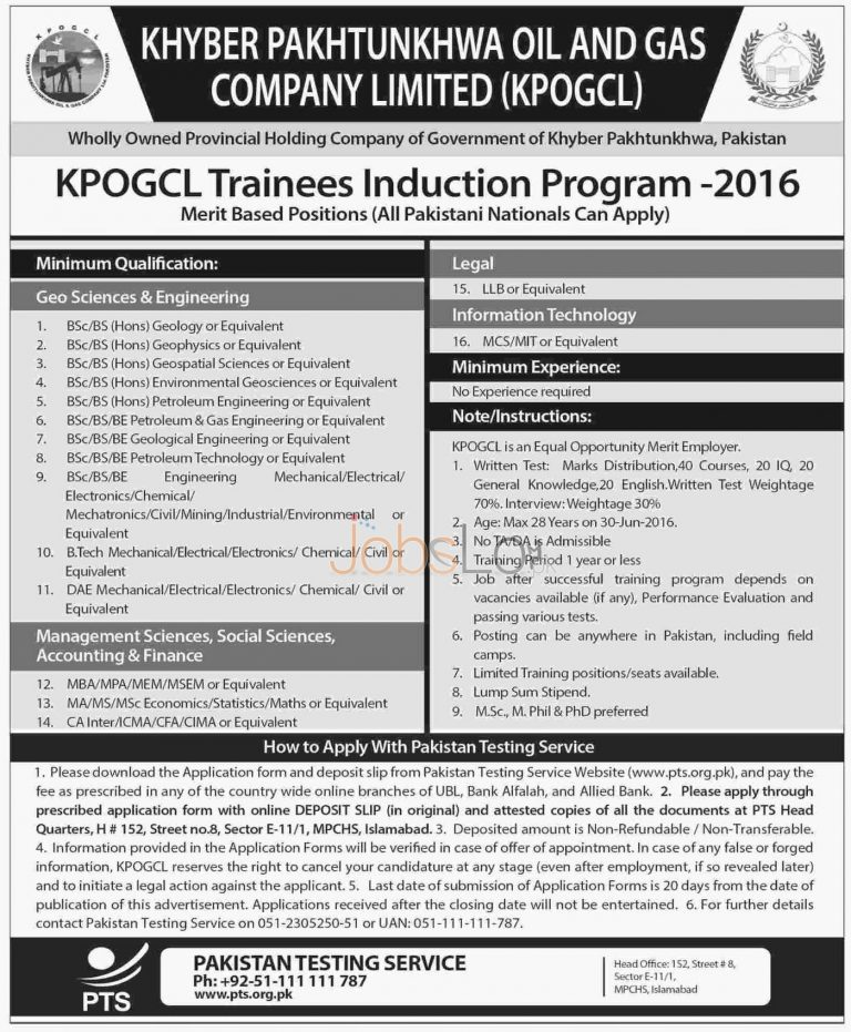 KPOGCL Trainee Induction Programe April 2016 Latest PTS Form & Test Result