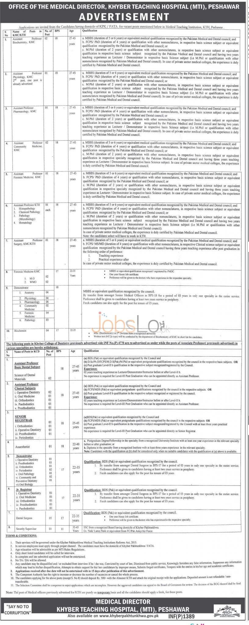 Khyber Teaching Hospital Medical Teaching Institute Jobs