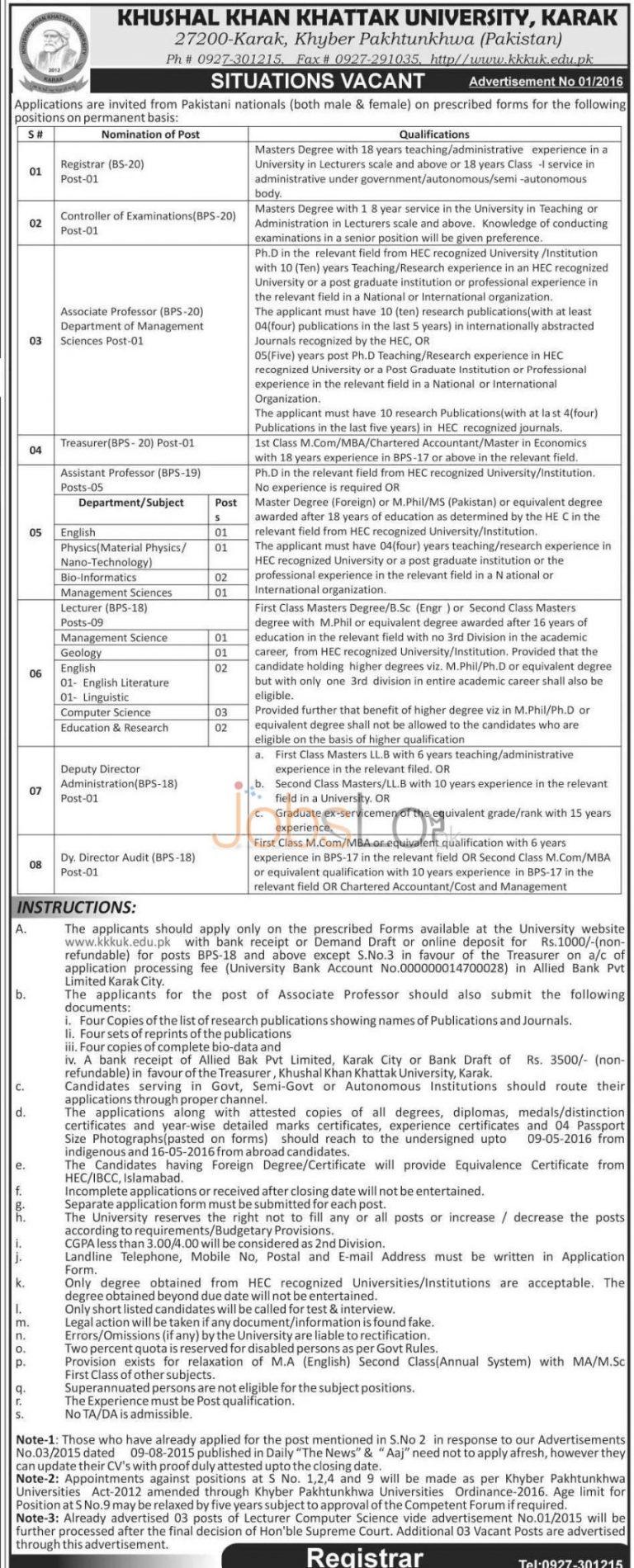 Khushal Khan Khattak University Karak Jobs April 2016 Application Form & Online Deposit Slip