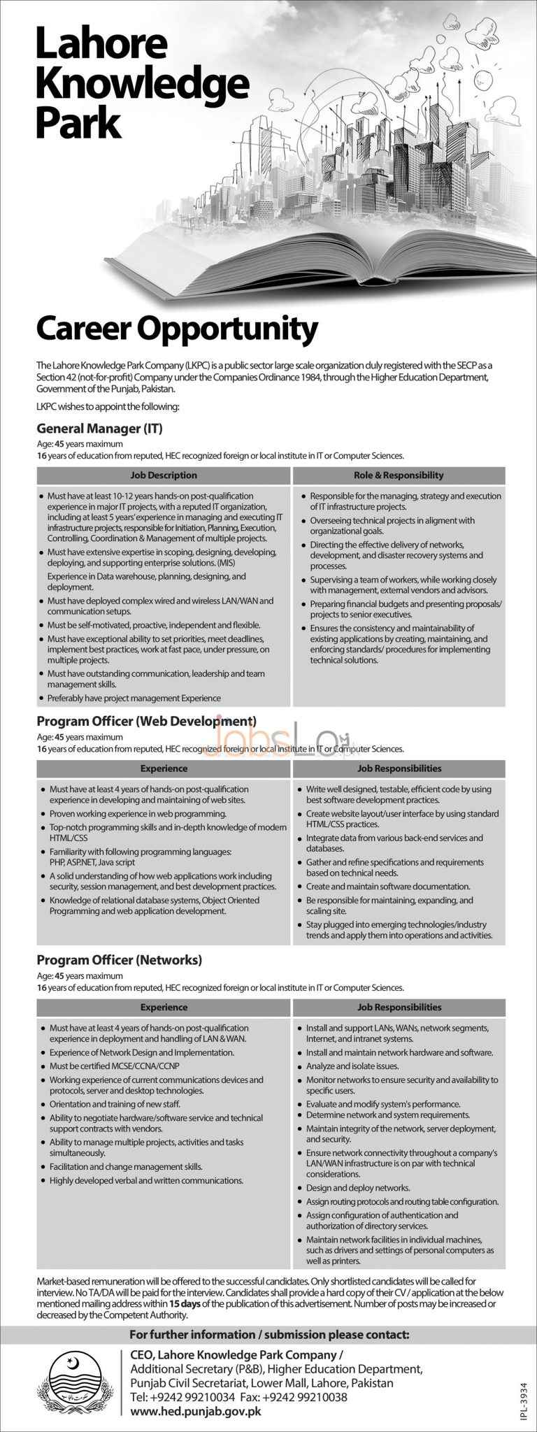 Lahore Knowledge Park Company Jobs