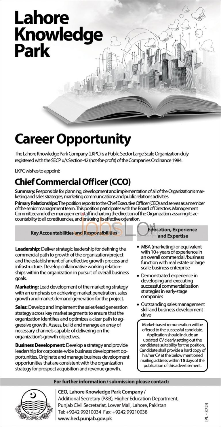 Lahore Knowledge Park Company Jobs 2016 For CCO Employment Offers