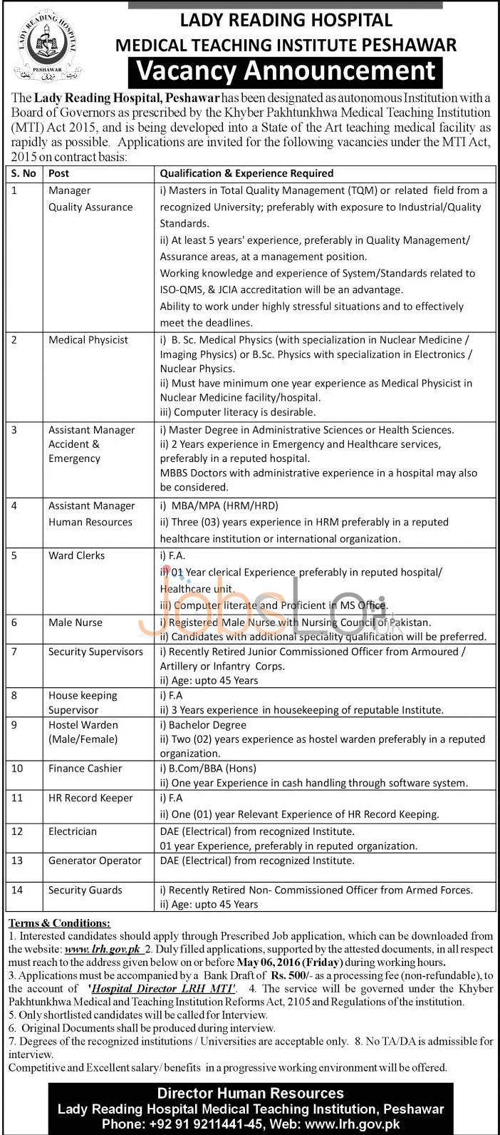 Lady Reading Hospital Peshawar Jobs April 2016 Application Form www.lrh.gov.pk