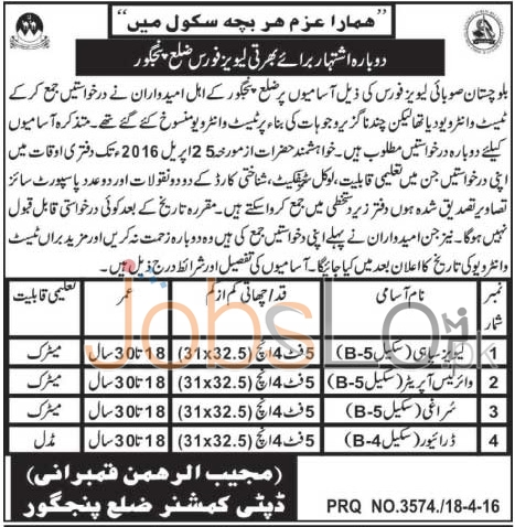 Levies Force District Panjgur Jobs April 2016 For Levies Constable & Wireless Operator