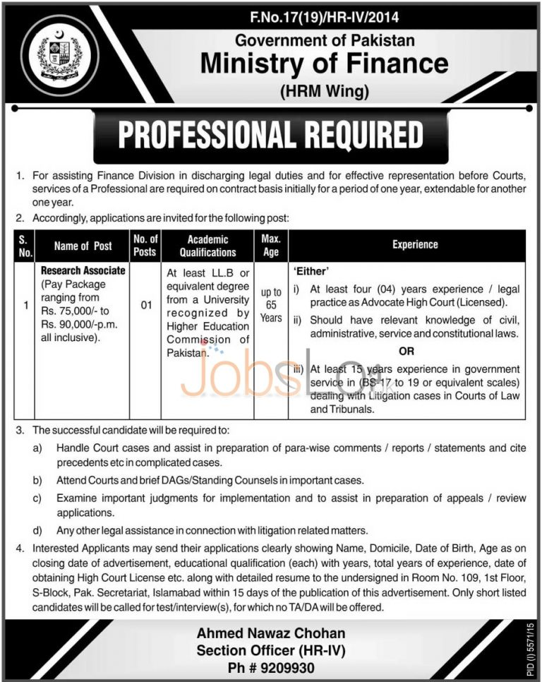 Ministry of Finance Pakistan Jobs April 2016 For Research Associate Eligibility Criteria