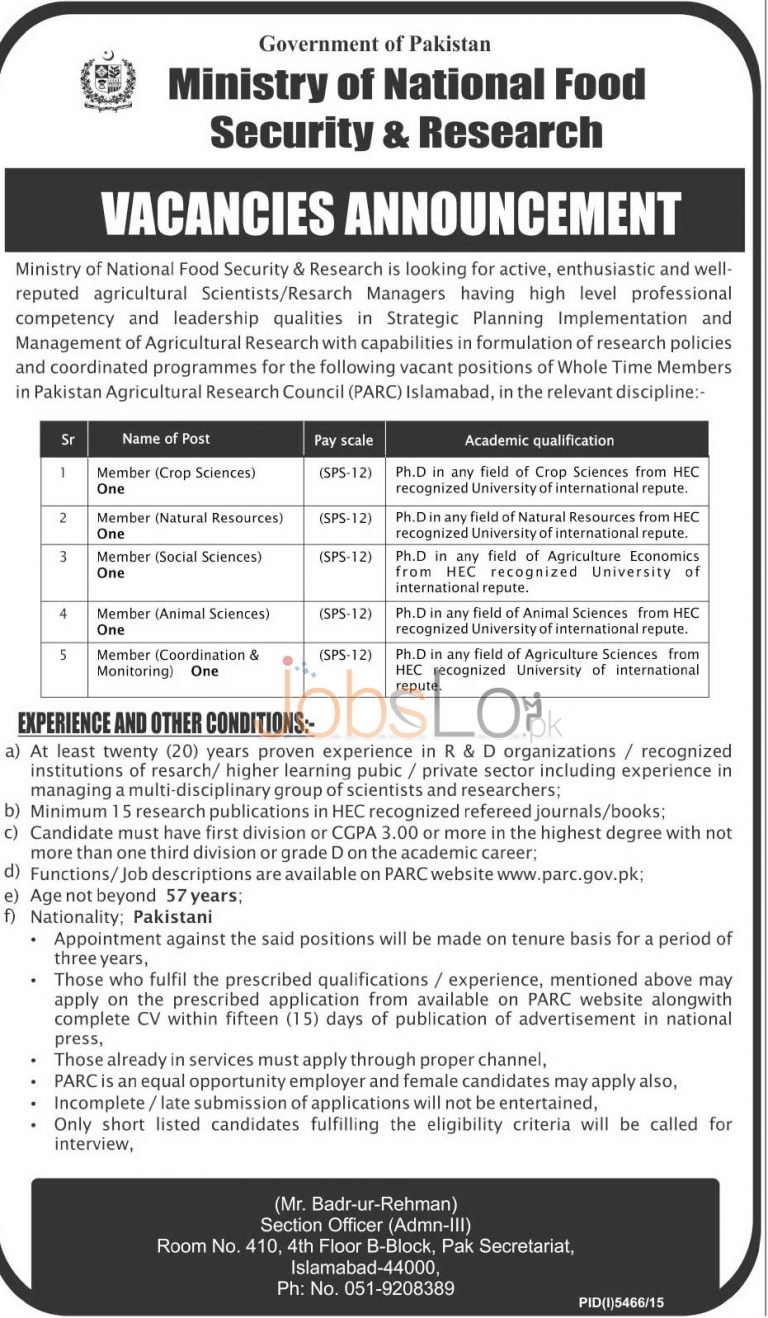 Ministry of National Food Security & Research Islamabad Jobs 2016 Online Application Form