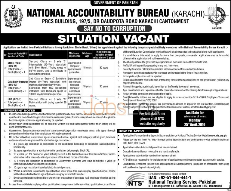 NAB Karachi Jobs April 2016 For Stenotypist & LDC NTS Application Form Download Online
