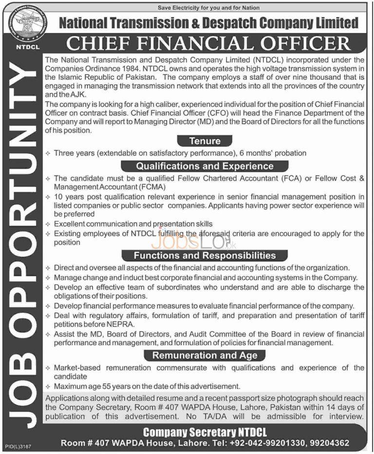 National Transmission & Dispatch Company Ltd Jobs 2016 For CFO Latest