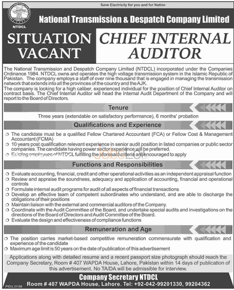 NTDCL Jobs April 2016 For Chief Internal Auditor Career Offers