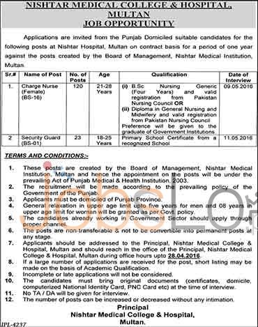 Nishtar Hospital Multan Jobs April 2016 For Charge Nurse Eligibility Criteria