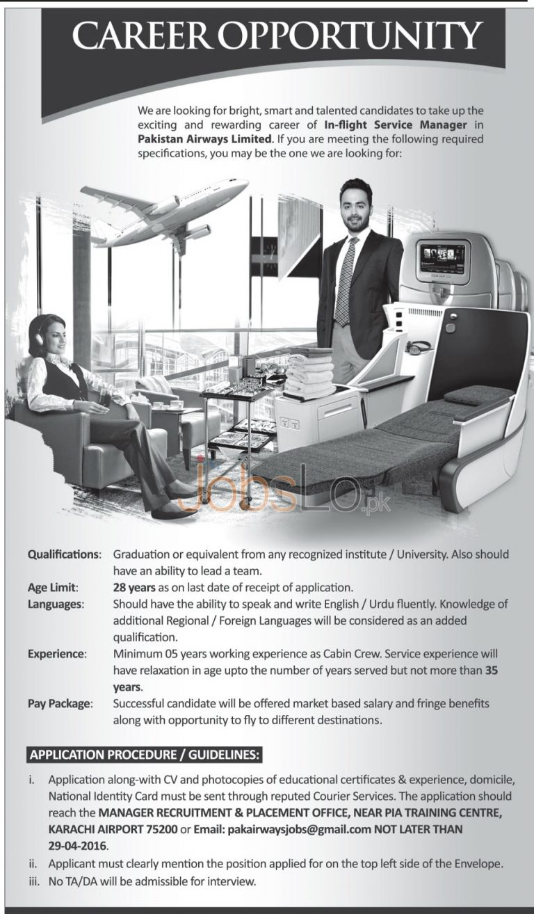 Pakistan Airways Jobs April 2016 For In Flight Service Manager Eligibility Criteria