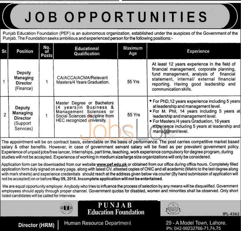 PEF Jobs April 2016 Application Form Download Online