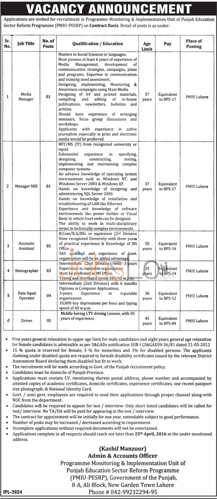 Punjab Education Sector Reform Programme Lahore Jobs April 2016 For Males & Females