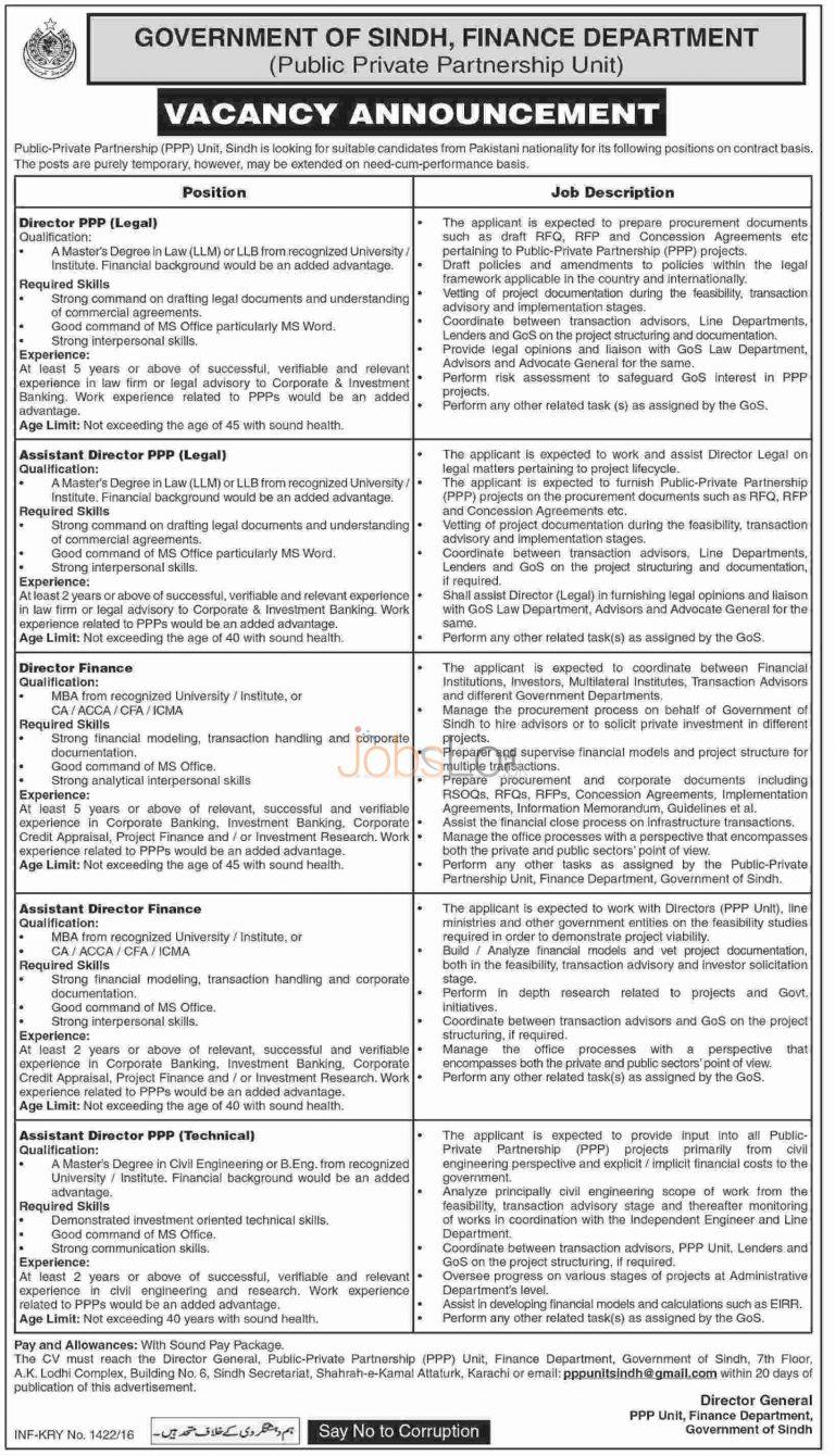 Public Private Partnership Unit Sindh Jobs April 2016 Apply Online Last Date
