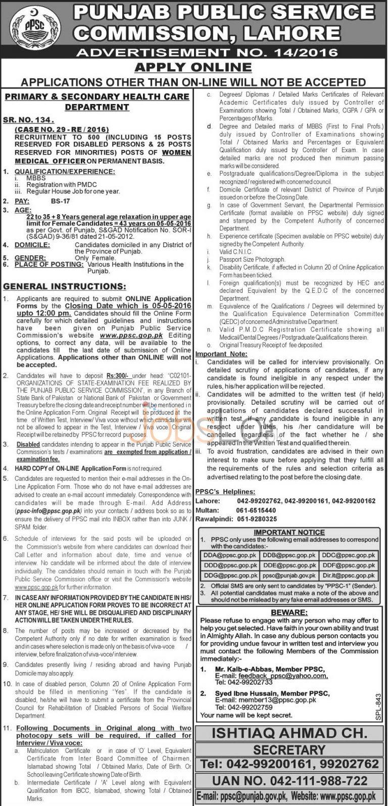 PPSC Women Medical Officer Jobs 20 April 2016 Apply Online Test Sample Paper