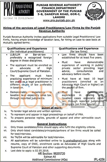 Punjab Revenue Authority Lahore Jobs April 2016 For Legal Practitioners Apply Online