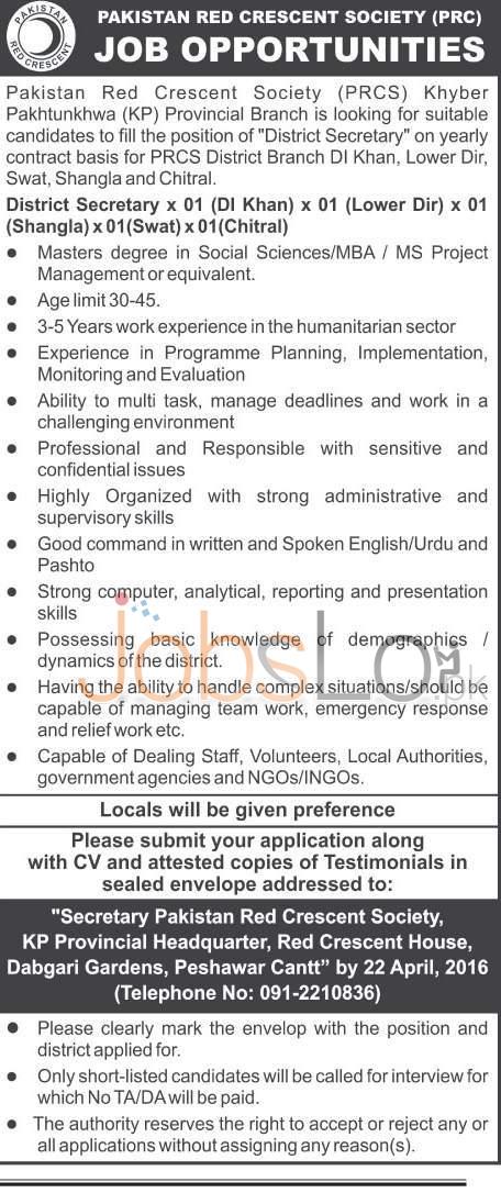 Pakistan Red Crescent Society KPK Jobs April 2016 For District Secretary Latest Advertisement