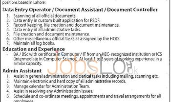 Punjab Skills Development Fund Jobs Apr 2016 for Data Entry Operator & Admin Assistant