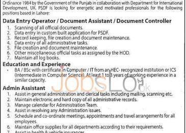 Punjab Skills Development Fund Jobs Apr 2016 for Data Entry Operator & Admin Assistant