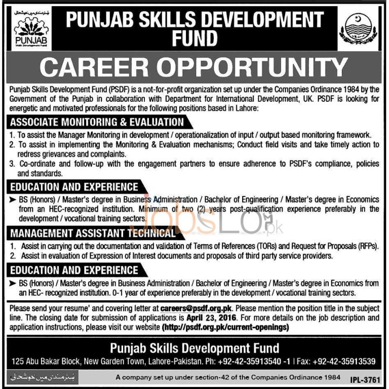 Punjab Skills Development Fund Lahore Jobs 2016 For Asstt Monitoring & Evaluation Latest