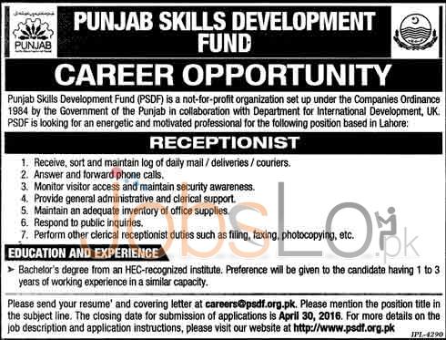 Punjab Skills Development Fund Lahore Jobs April 2016 For Receptionist