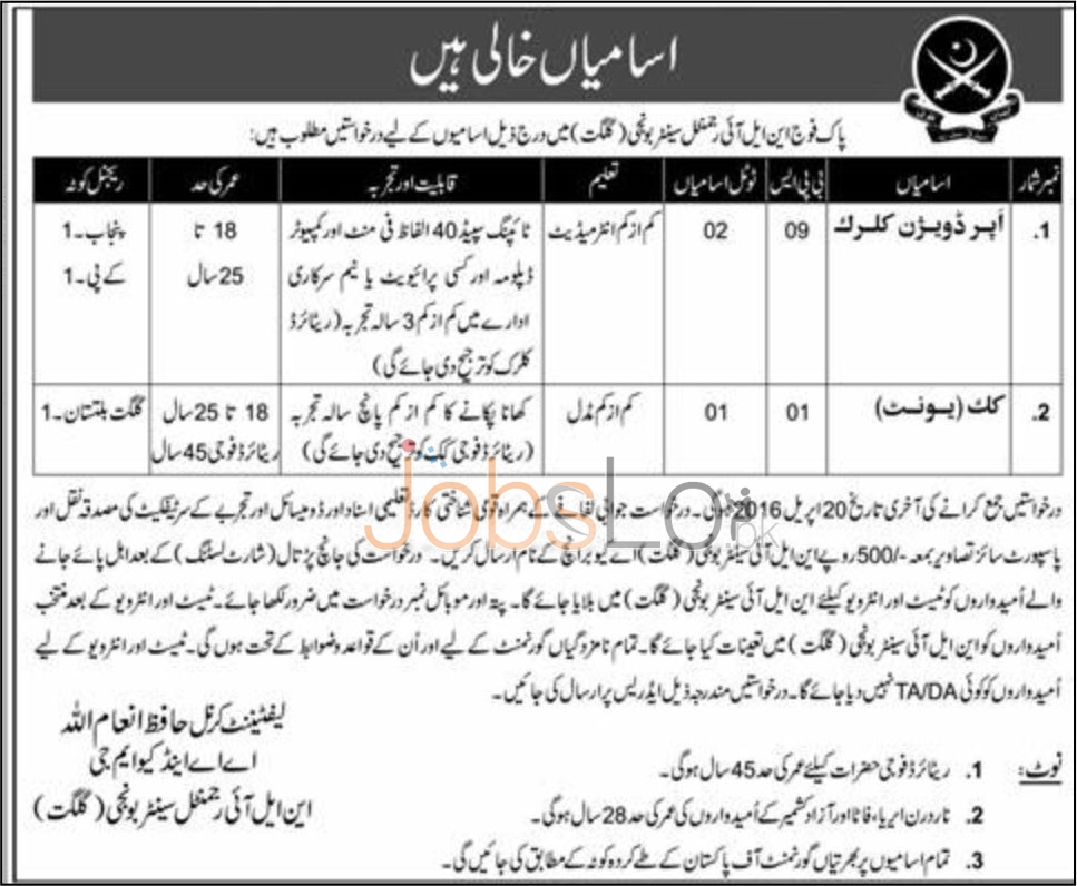 Pak Army NLI Regimental Centre Jobs