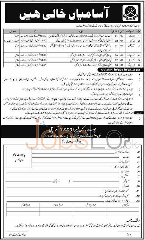 Pakistan Army P.O Box No 12220 Karachi Jobs April 2016 For UDC Latest Add