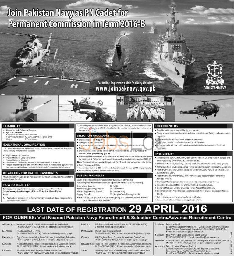 Pakistan Navy Jobs 2016 as PN Cadet Online Registration www.joinpaknavy.gov.pk