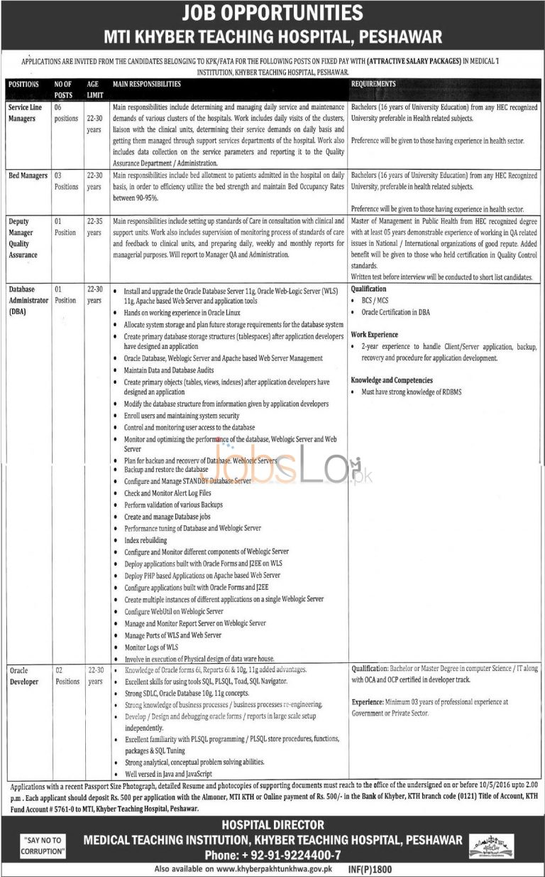 Peshawar MTI Khyber Teaching Hospital Jobs 2016 For Service Line Manager